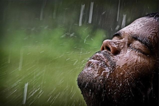 Rain on face